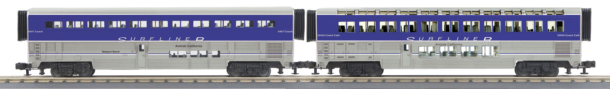 MTH306533 MTH Electric Trains O-31 SuperLiner Set, Amtrak/Lounge/Surfliner #6461