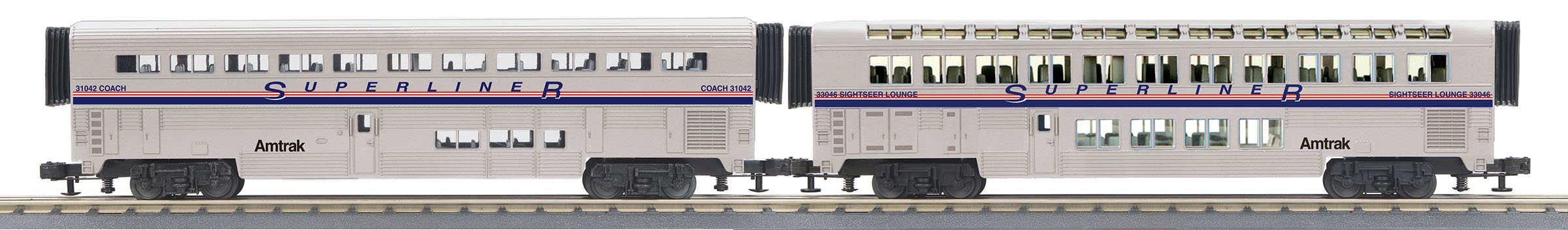 MTH306539 MTH Electric Trains O-31 SuperLiner Coach/Lounge, Amtrak/PhIV #31035