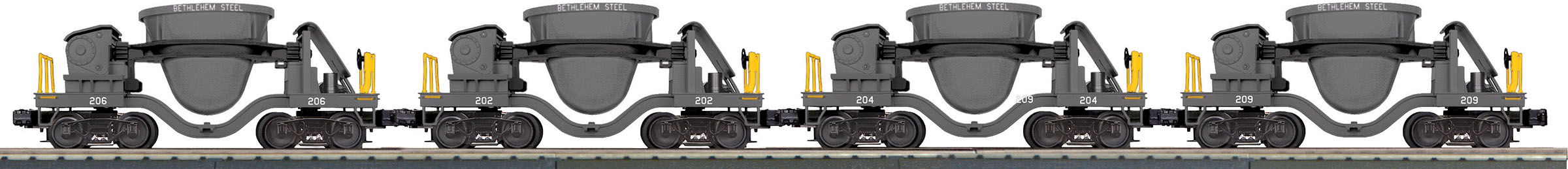 MTH3070103 MTH Electric Trains O-27 4-Car Slag Set, BSCX #209