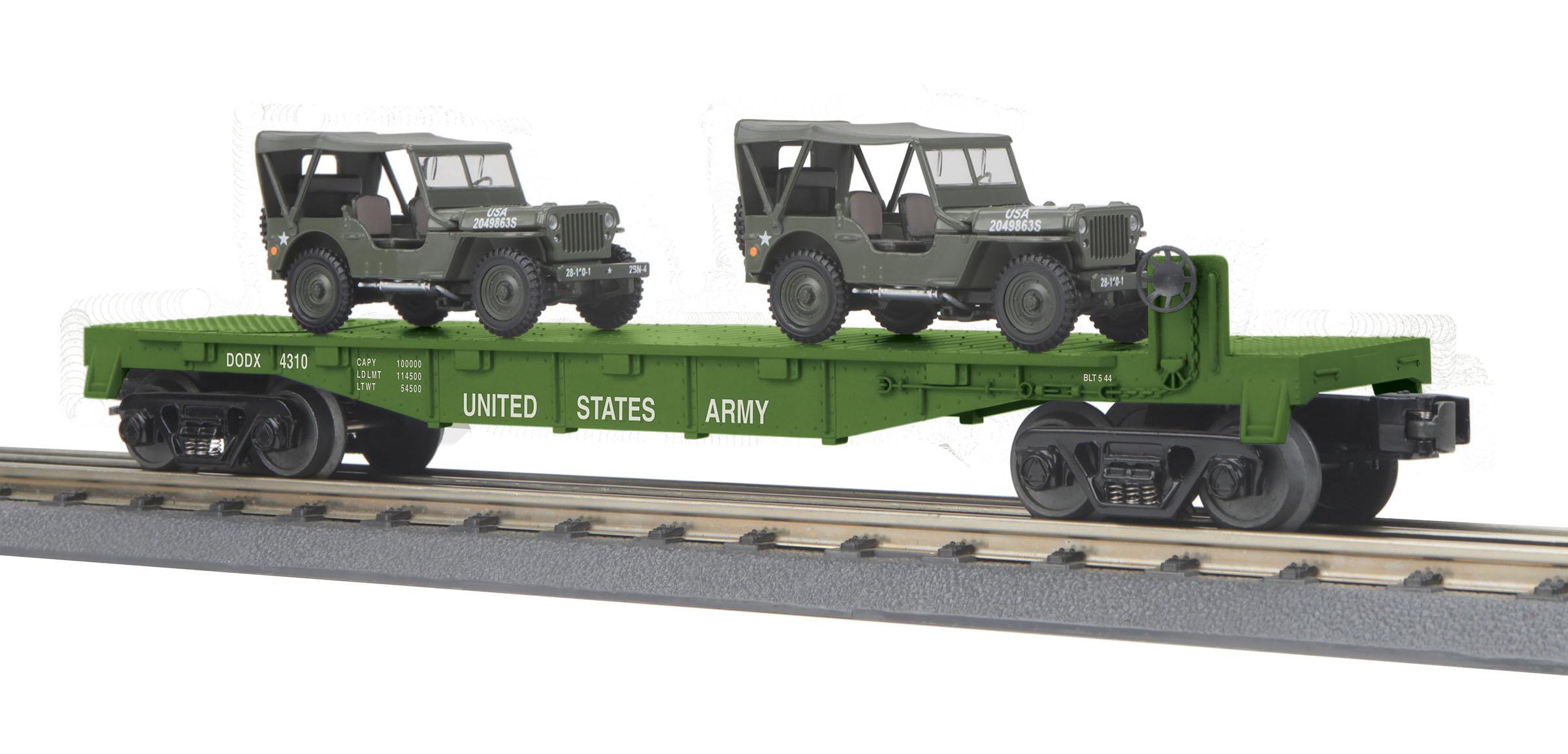 MTH 30-76806 O U.S. Army Flat Car w/(2) Personel Vehicles