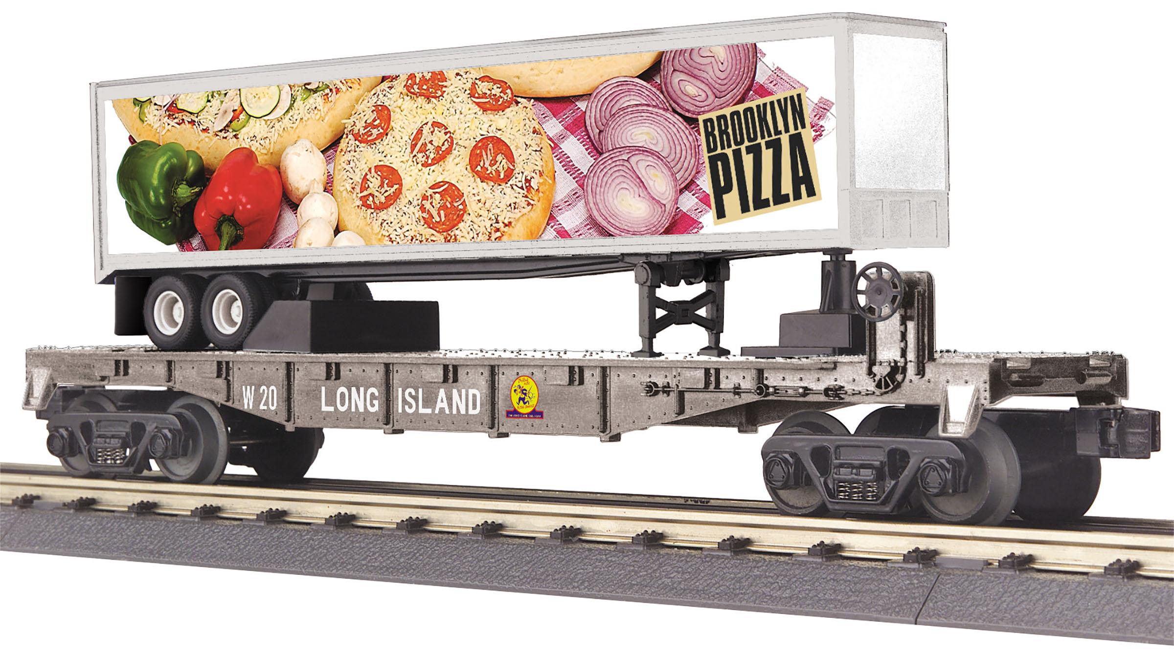 MTH 30-76814 O Long Island Flat Car w/40' Trailer